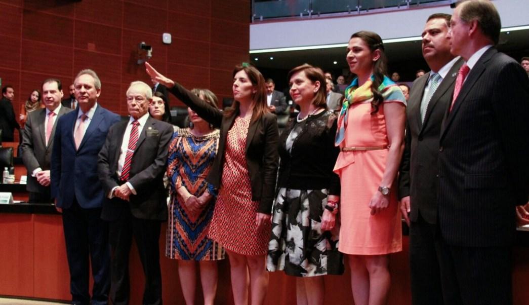 Paloma Merodio Gómez protestó este jueves ante el Pleno del Senado de la República.(Twitter @CanalCongreso)