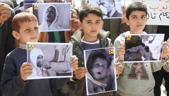 Protestas contra el ataque químico en la localidad siria de Khan Sheikhoun. (Getty Images, archivo)