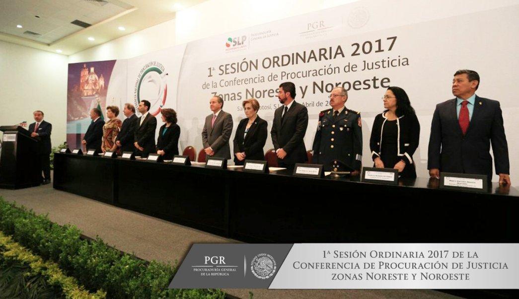 Raúl Cervantes, encabezó la Primera Sesión Ordinaria 2017 de la Conferencia de Procuración de Justicia Zonas Noreste y Noroeste. (Twitter: @PGR_mx)