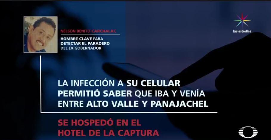 Ruta de escape de Javier Duarte. El hombre clave para capturar a Duarte. (Noticieros Televisa)