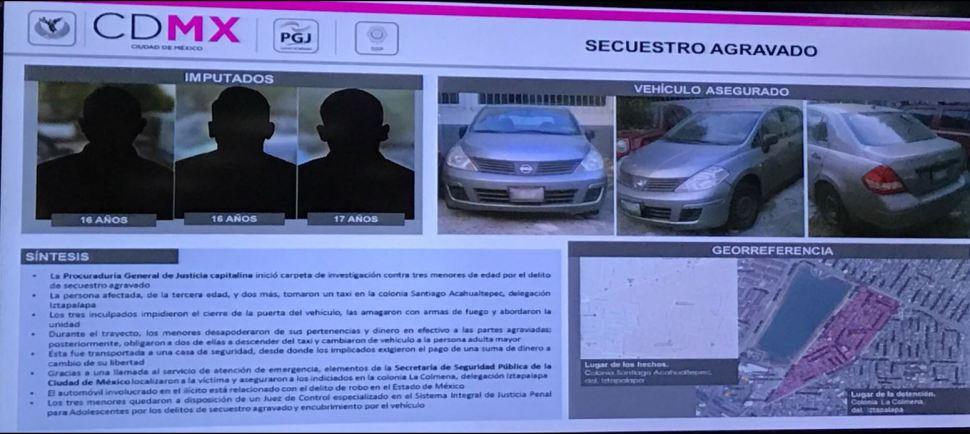 SSP detiene a tres menores por secuestro en Iztapalapa de una mujer de la tercera edad