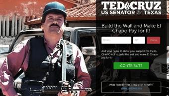 """""""Construir el muro y hacer que El Chapo pague por el"""" posteó el senador Cruz para presentar su iniciativa (@tedcruz)"""