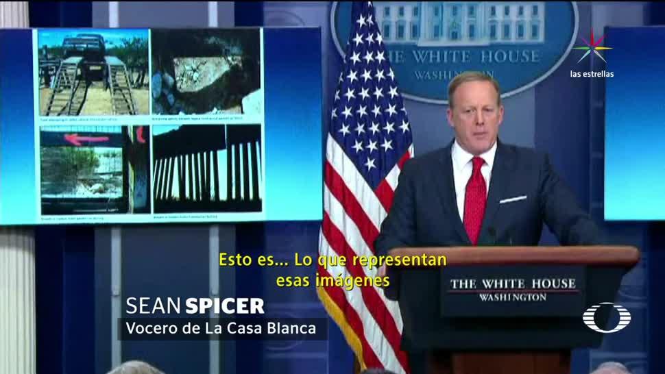 noticias, televisa news, Sean Spicer, monta show, muro fronterizo, vocero