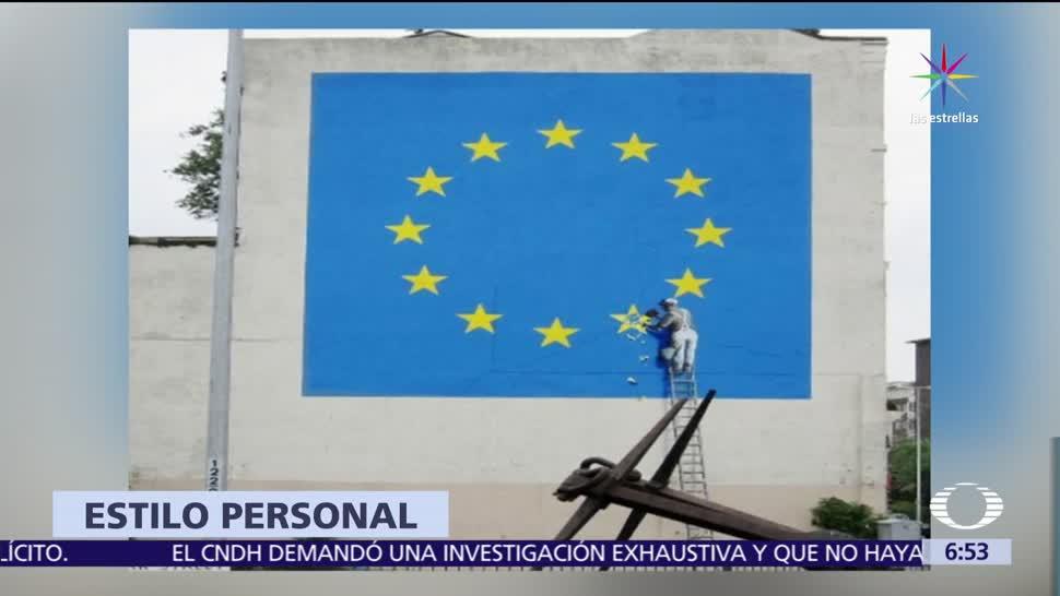 artista británica, artista Banksy, mural, Unión Europea,