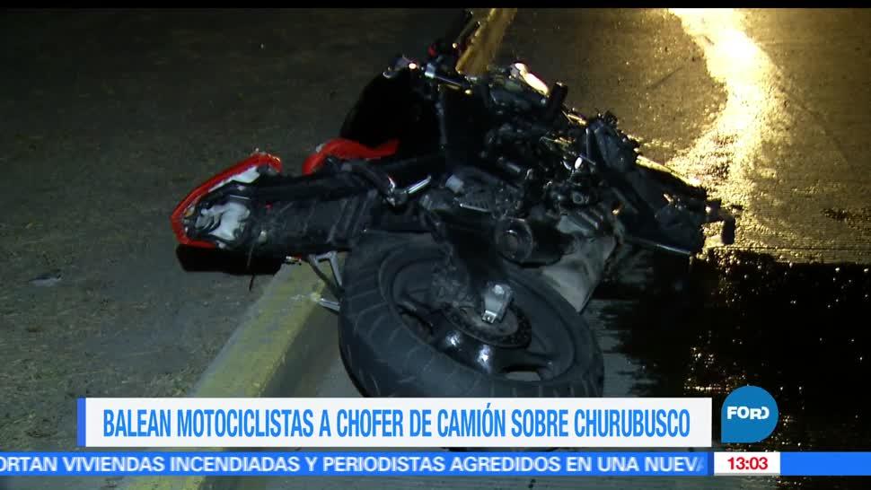 Motociclistas, balean a chofer de camión, Churubusco, intento de asalto