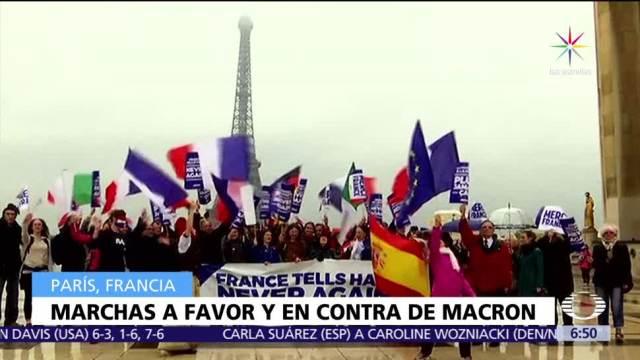 personas, Macron, Francia, organizaciones sindicales