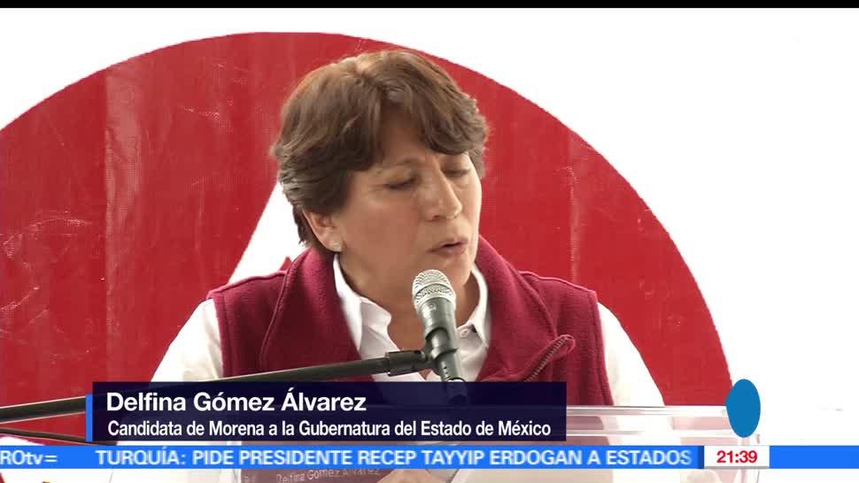Delfina Gomez, visita, Chimalhuacán y Texcoco, Eleccion, Estado de México, Candidata gubernatura de MORENA