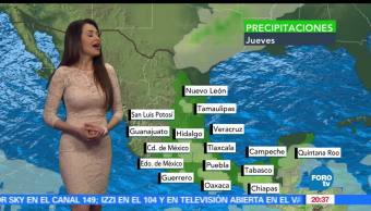 Clima, jueves, Mayte Carranco, Temperatura, lluvia, temperatura
