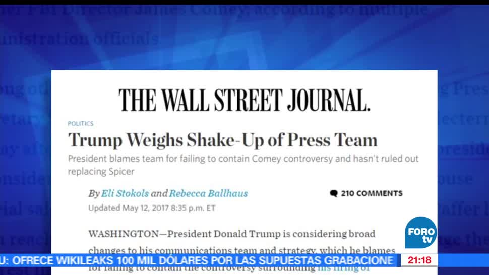 Sean Spicer, Trump, The Wall Street Journal, Vocero, Casa Blanca, Estados Unidos