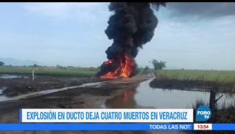 Explosión, ducto de Pemex, mata a cuatro personas, Veracruz