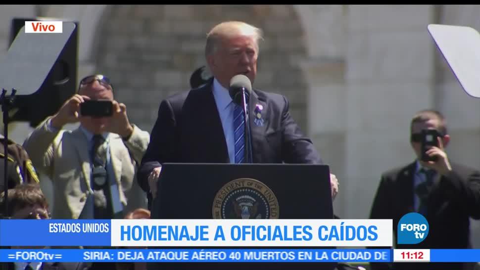 presidente de Estados Unidos, Donald Trump, homenaje en el Capitolio, policías caídos