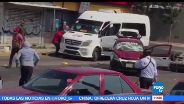Enfrentamientos, sindicatos de transportistas, varios heridos, Oaxaca