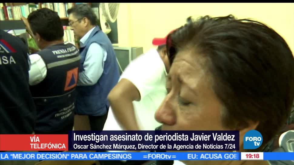 Oscar Sánchez Márquez, director de Agencia de Noticias 7/24, Javier Valdez, periodista