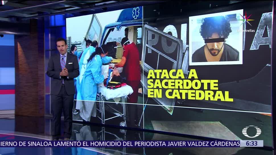 sacerdote Miguel Ángel Machorro, atacado, cuchillo, misa, Catedral CDMX