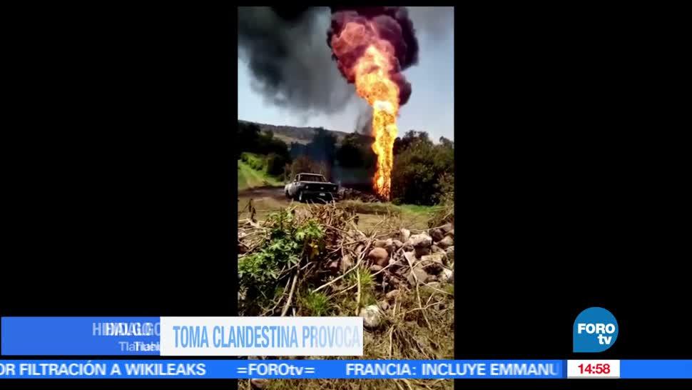 noticias, forotv, Toma clandestina, incendio, Hidalgo, poliducto