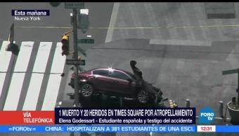 Elena Godessart, testigo, atropellamiento en Times Square, Nueva York