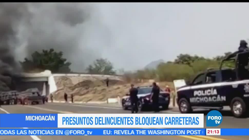 Presuntos criminales, bloquean, carreteras, Michoacán, bloqueos, carreteras