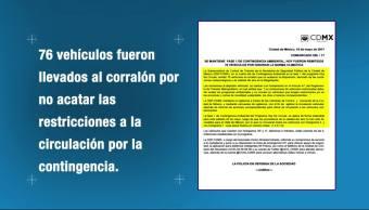 SSPCDMX, remite, vehículos, corralón, Hoy No Circula, Valle de México