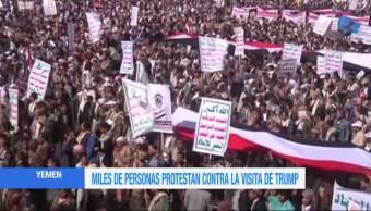 Protestan, visita, Presidente de Estados Unidos, Donald Trump, Yemen, Arabia Saudita