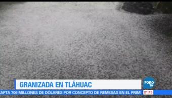 Fuerte granizada, sorprende, Tláhuac, CDMX, clima, lluvia