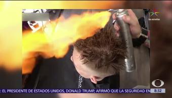 Rusia, peluquero, estilo de peinar, fuego