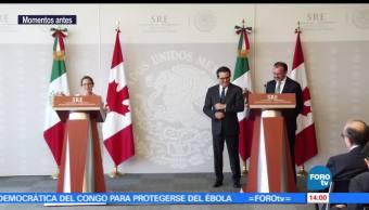 Luis Videgaray, Ildefonso Guajardo, canciller de Canadá, Chrystia Freeland