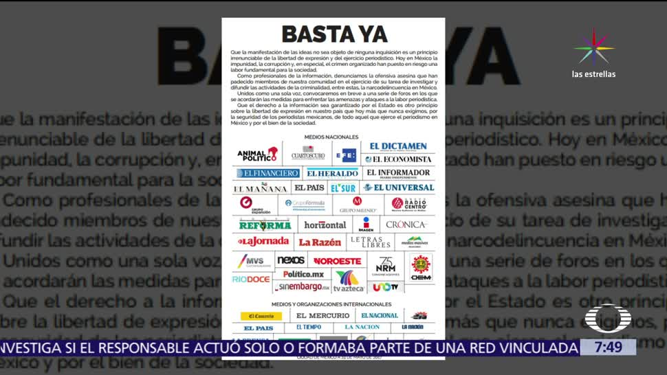 Medios de comunicación, desplegado, violencia, periodistas en México