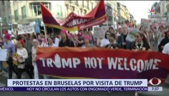 nueve mil personas, protestan en Bruselas, Donald Trump, OTAN