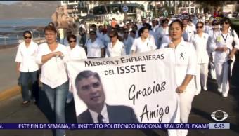 asesinato, director del ISSSTE, Mazatlán, médicos y enfermeras, marchan en Sinaloa