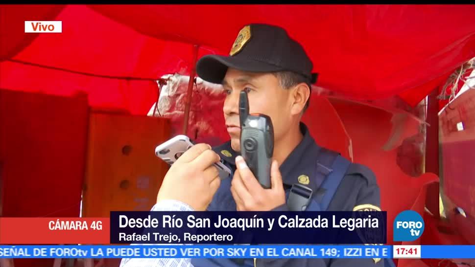 Policía, invade, banqueta, Río San Joaquín