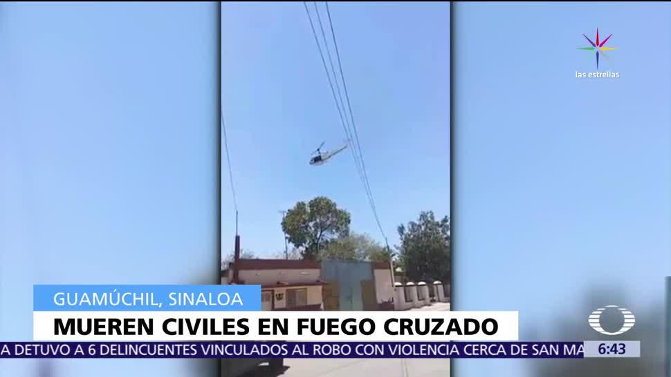 Mueren 4 personas, atrapadas, fuego cruzado, grupos criminales, Guamúchil, Sinaloa