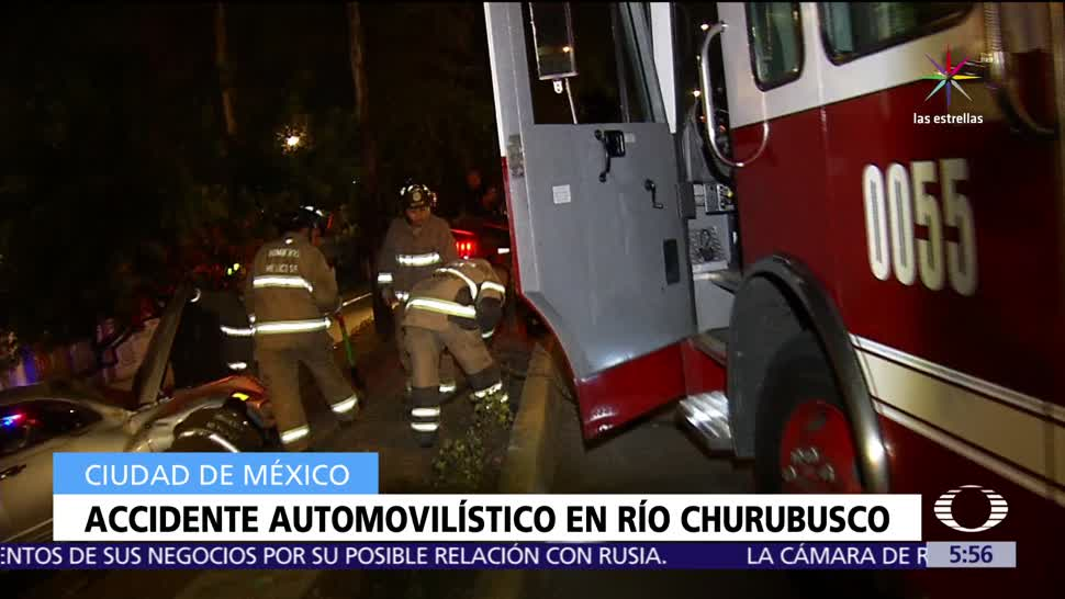 Bomberos de la CDMX, accidente automovilístico, Río Churubusco, conato de incendio