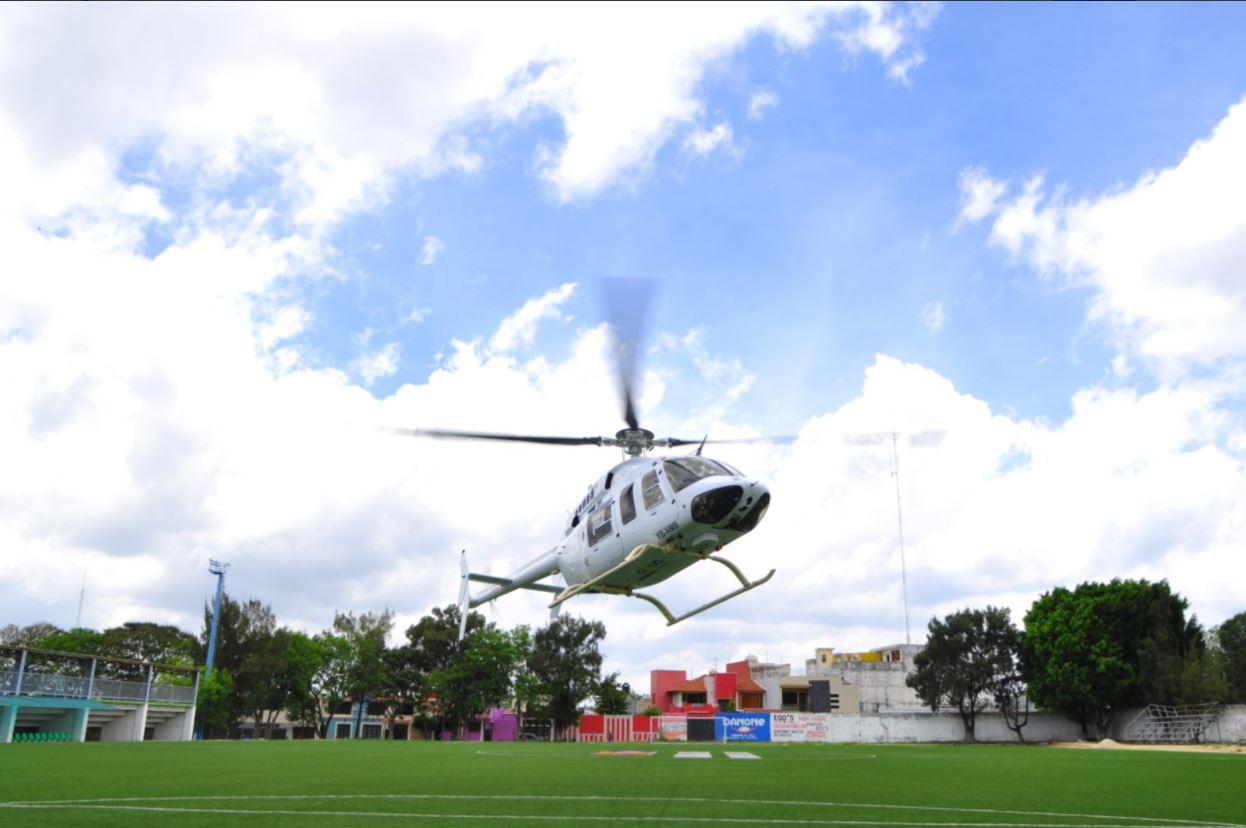 Helicoptero traslada a victima de accidente