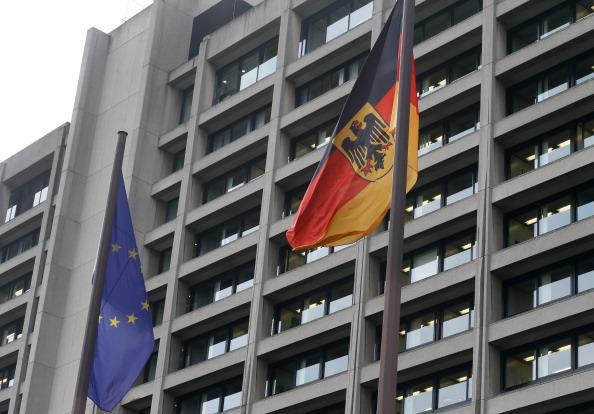 banderas en el banco central de alemania
