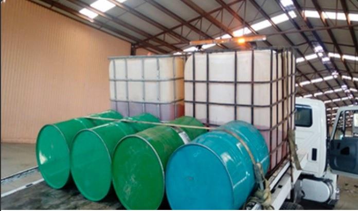 Bodega asegurada que era usada para almacenar hidrocarburo. (Twitter @PGR_Jal)