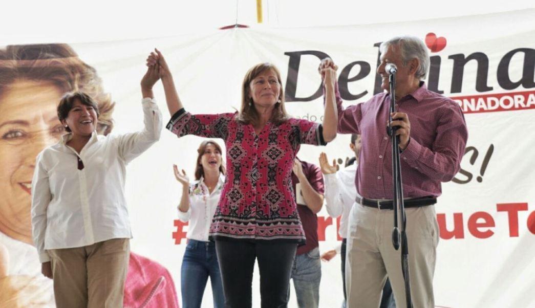 Delfina Gómez y López Obrador estuvieron acompañados por Tatiana Clouthier