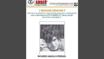 Desactivan Alerta Amber de Ricardo Angulo Peraza