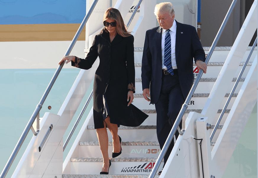 El matrimonio Trump a su llegada a Roma