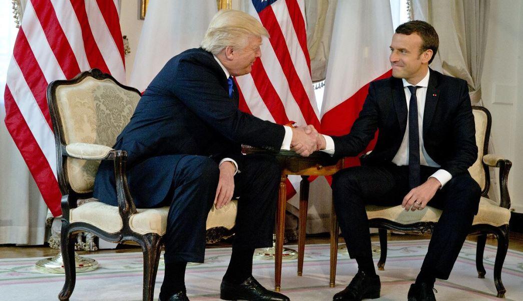 presidente de EU, Donald Trump, presidente de francia, Emmanuel Macron