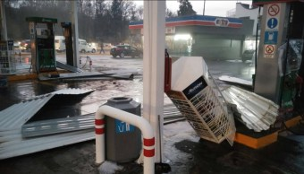 Gasolinera afectada por una granizada en Tlaxcala