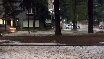 Granizo en calles de la CDMX