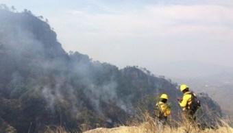 Combaten incendio en Tepoztlán (Twitter @rol_lara)
