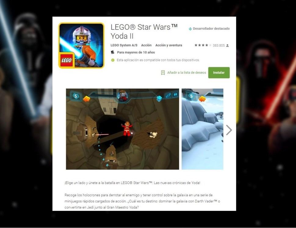 LEGO Star Wars Yoda II es el juego más descargado en México. (Google)