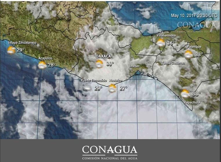 Se prevé oleaje de 1.5 a 2.0 metros de altura y rachas de viento en costas de Oaxaca. (Twitter @conagua_clima)