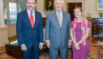 Luis Videgaray, Rex Tillerson y Chrystia Freeland
