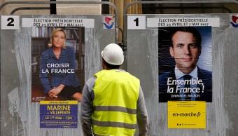 publicidad de emmanuel Macron y Marine Le Pen