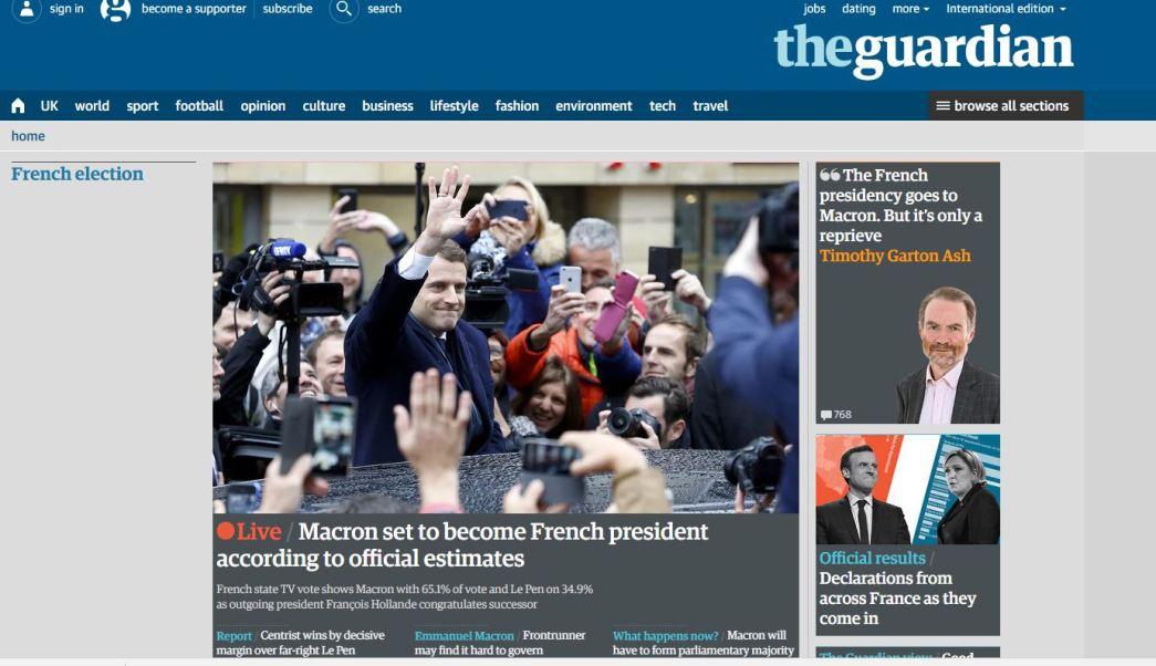 Los principales medios de comunicación internacionales destacaron el triunfo de Emmanuel Macron. (www.theguardian.com)