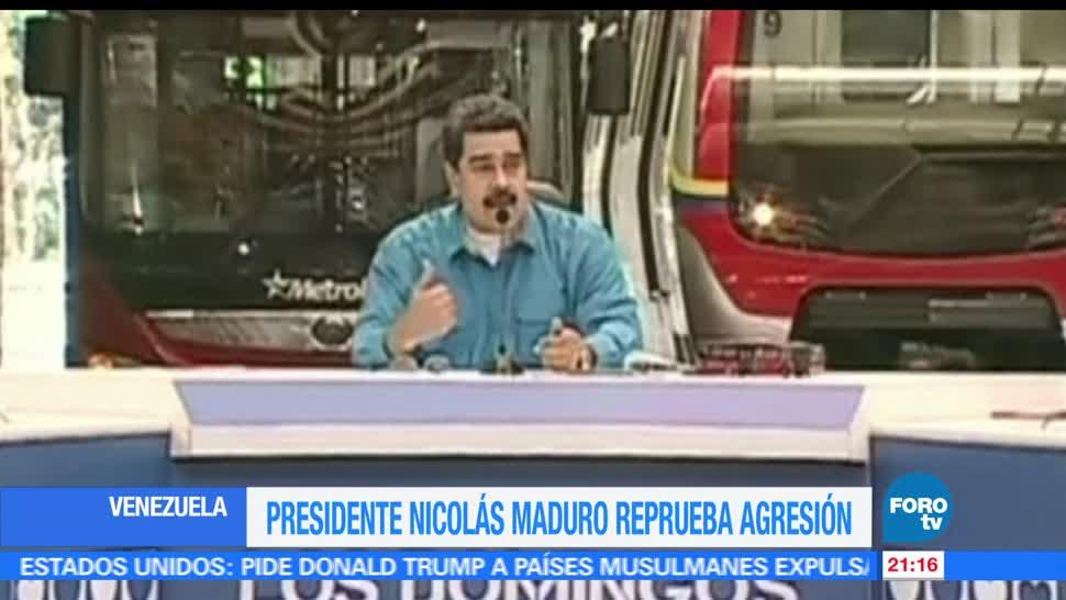 Maduro, reprueba, agresiones, manifestaciones en Venezuela, chavista, incendiado