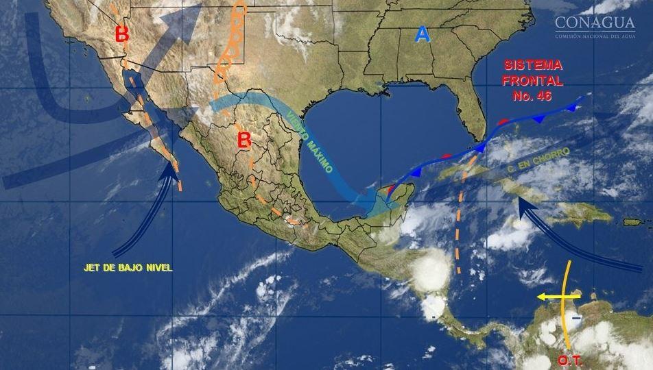 mapa con el clima para este 15 de mayo