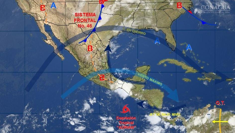 mapa con el pronostico del clima para este 11 de mayo
